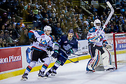 KELOWNA, CANADA - APRIL 30:  Lucas Johansen #7 of the Kelowna Rockets, Michael Herringer #30 of the Kelowna Rockets, Mathew Barzal #13 of the Seattle Thunderbirds at the Kelowna Rockets game on April 30, 2017 at Prospera Place in Kelowna, British Columbia, Canada.  (Photo By Cindy Rogers/Nyasa Photography,  *** Local Caption ***