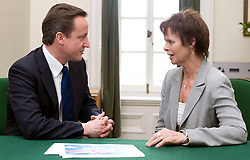 Leader of the Conservative Party David Cameron with Anne Milton.Member of Parliament for Guildford in his office in Norman Shaw South, January 18, 2010. Photo By Andrew Parsons / i-Images.