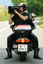 04.07.2010, AUT, 62. Österreich Rundfahrt, 1. Etappe, Dornbirn-Bludenz, im Bild ein Feature mit einem ORF Motorrad, Kamermann, Motorradkamera, EXPA Pictures © 2010, PhotoCredit: EXPA/ S. Zangrando / SPORTIDA PHOTO AGENCY