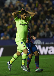 December 16, 2018 - Villarreal, Valencia, Spain - Luis Suarez of FC Barcelona reacts during the La Liga match between Levante UD and FC Barcelona at Ciutat de Valencia Stadium on December 16, 2018 in Valencia, Spain. (Credit Image: © Maria Jose Segovia/NurPhoto via ZUMA Press)