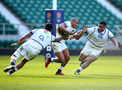 Jonathan Joseph of England takes on Courtney Lawes and Mako Vunipola during an open training session at Twickenham - Mandatory by-line: Robbie Stephenson/JMP - 16/02/2018 - RUGBY - Twickenham Stadium - London, England - England Rugby Open Training Session