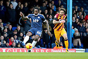 Southend United striker Nile Ranger (50) passing the ball during the EFL Sky Bet League 1 match between Southend United and Bradford City at Roots Hall, Southend, England on 19 November 2016. Photo by Matthew Redman.