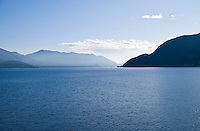Ticino, Southern Switzerland. Lago Maggiore. Breathtaking view of Lago Maggiore with the mountains stretching away into the distance.