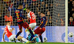Arsenal's Gabriel Paulista clears the ball from the path of Neymar - Mandatory byline: Matt McNulty/JMP - 16/03/2016 - FOOTBALL - Nou Camp - Barcelona,  - FC Barcelona v Arsenal - Champions League - Round of 16