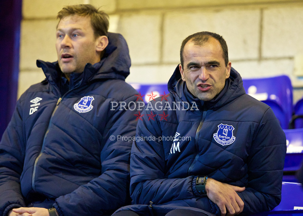CHESTER, WALES - Monday, March 9, 2015: Everton's manager Roberto Martinez and coach Duncan Ferguson during the Under 21 FA Premier League match at Deva Stadium. (Pic by David Rawcliffe/Propaganda)