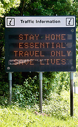 Covid 19 - Traffic information sign on the A31 during Coronavirus lockdown, Dorset UK May 2020