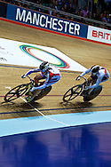 Picture by Ian Wadkins/Focus Images Ltd +44 7877 568959<br /> 02/11/2013<br /> Jess Varnish of Team GB (right) pursuing Olga Streltsova during day two of the UCI Track Cycling World Cup  at the National Cycling Centre, Manchester.