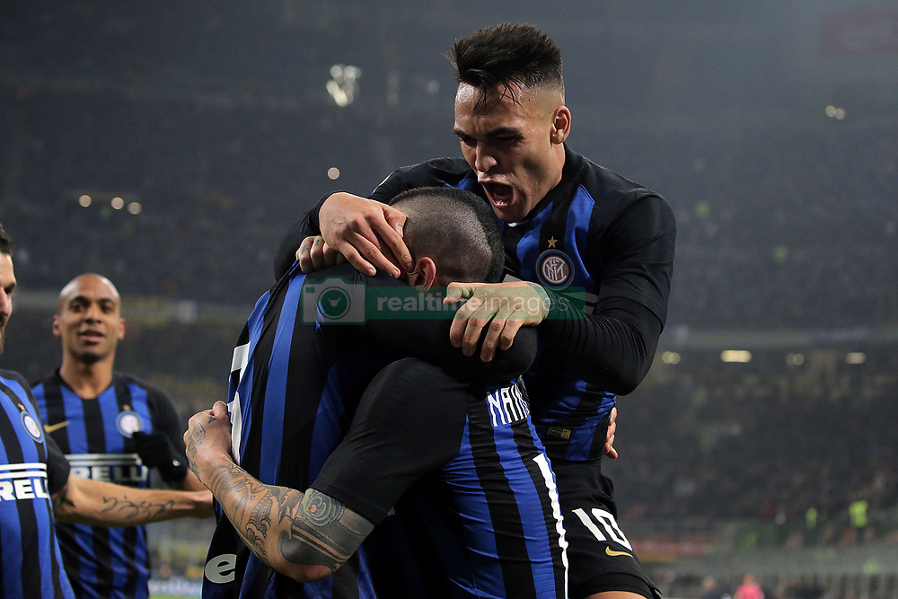 February 17, 2019 - Milan, Milan, Italy - MILAN, ITALY - FEBRUARY 17: Danilo D'Ambrosio #33 of FC Internazionale Milano celebrates with Radja Nainggolan #14 of FC Internazionale Milano and Lautaro Martinez #10 of FC Internazionale Milano after scoring the goal during the serie A match between FC Internazionale and UC Sampdoria at Stadio Giuseppe Meazza on February 17, 2019 in Milan, Italy. (Credit Image: © Giuseppe Cottini/NurPhoto via ZUMA Press)