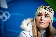 Lindsey Vonn of the United States speaks at a press conference after winning the gold medal in the Women's Downhill at the 2010 Vancouver Winter Olympics in Whistler, Canada, on Feb. 17, 2010.