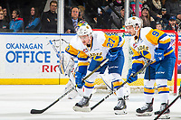 KELOWNA, CANADA - DECEMBER 1:  Nolan Kneen #27 and Max Gerlach #9 of the Saskatoon Blades line up opposite the Kelowna Rockets on December 1, 2018 at Prospera Place in Kelowna, British Columbia, Canada.  (Photo by Marissa Baecker/Shoot the Breeze)