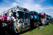 Tour Buses parked at Vans Warped Tour, USA touring punk rock music festival, Bicentennial park, Miami, Florida, USA. 24th June 2006