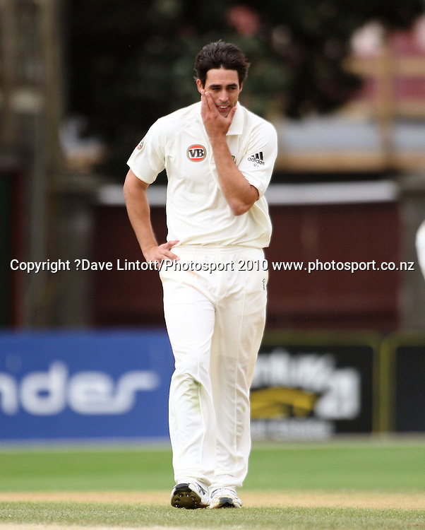 Australian bowler Mitchell Johnson.<br /> 1st cricket test match - New Zealand Black Caps v Australia, day four at the Basin Reserve, Wellington. Monday, 21 March 2010. Photo: Dave Lintott/PHOTOSPORT