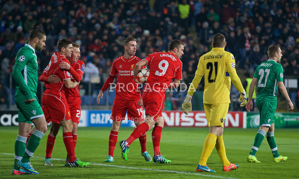 SOFIA, BULGARIA - Wednesday, November 26, 2014: Liverpool's Rickie Lambert celebrates scoring the first goal against PFC Ludogorets Razgrad during the UEFA Champions League Group B match at the Vasil Levski National Stadium (Pic by David Rawcliffe/Propaganda)
