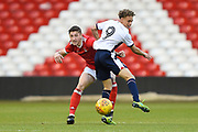 Nottingham Forest U23's Adam Crookes battles with Bolton's U23 Stephen McKenna during the U23 Professional Development League Play-Off Final match between Nottingham Forest and Bolton Wanderers at the City Ground, Nottingham, England on 4 May 2018. Picture by Jon Hobley.