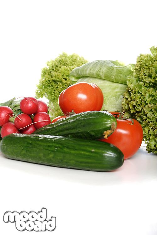 CComposition of vegetables on white background