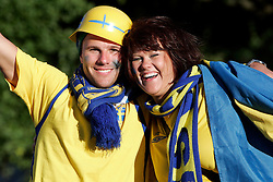 Fans of Sweden before the UEFA EURO 2008 Group D soccer match between Sweden and Russia at Stadion Tivoli NEU, on June 18,2008, in Innsbruck, Austria. Russia won 2:0. (Photo by Vid Ponikvar / Sportal Images)