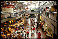 Interior view of people shopping inside St Louis Union Station since renovation into galleria. Missouri