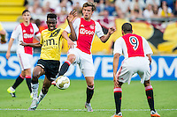 BREDA - NAC - Jong Ajax , Voetbal , Seizoen 2015/2016 , Jupiler league , Rat Verlegh Stadion , 21-08-2015 , NAC Breda speler Divine Naah (l) in duel met Jong Ajax speler Lucas Andersen (2e l)