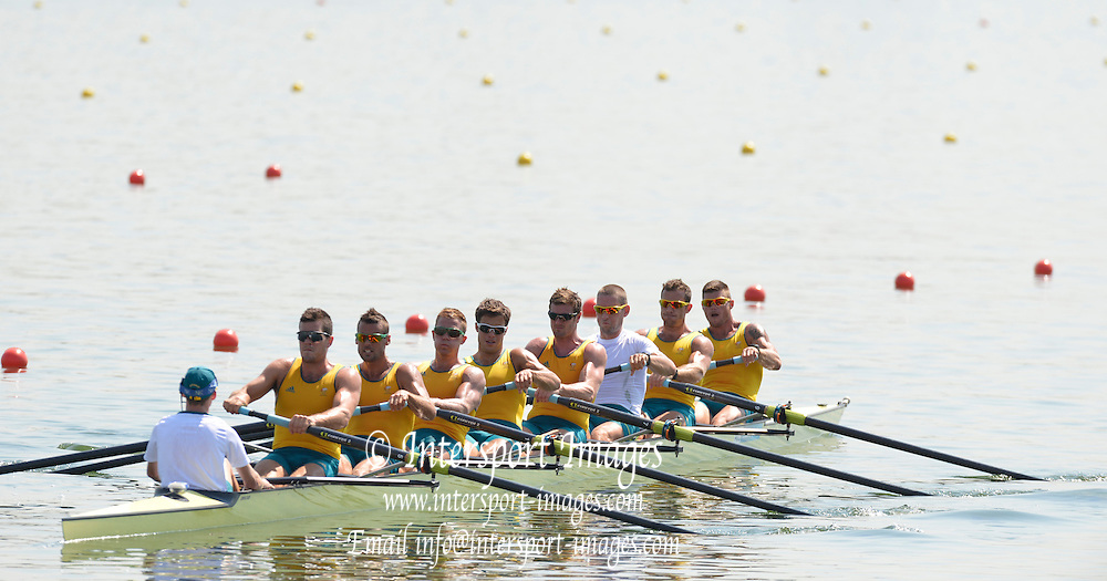 Eton Dorney, Windsor, Great Britain,..2012 London Olympic Regatta, Dorney Lake. Eton Rowing Centre, Berkshire[ Rowing]...Description; . Start Area, AUS M8+. Training session.13:48:46  Wednesday  25/07/2012. [Mandatory Credit: Peter Spurrier/Intersport Images]. July/Aug