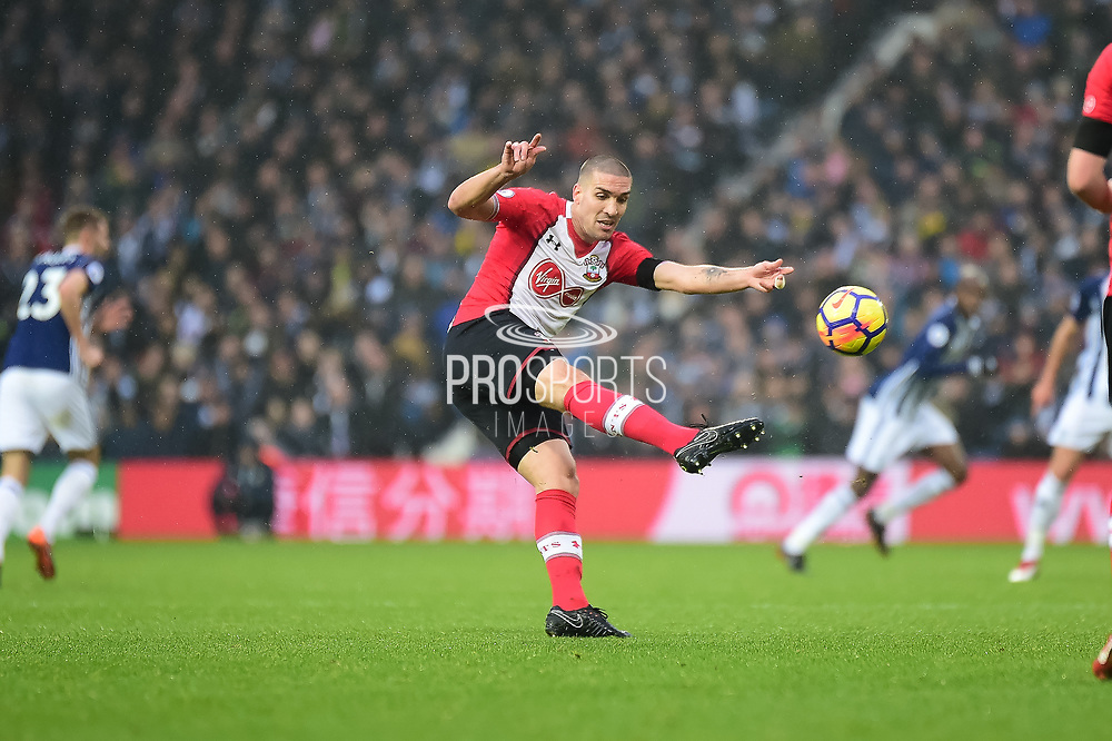 Southampton midfielder Oriol Romeu (14) shoots during the Premier League match between West Bromwich Albion and Southampton at The Hawthorns, West Bromwich, England on 3 February 2018. Picture by Dennis Goodwin.