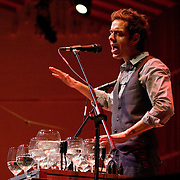 February 7, 2012 - New York, NY :.Jonny Rodgers and Todd Reynolds (not pictured) perform Jonny Rodgers's' Spero/Sparrow' during Kaufman Center's presenation of the Ecstatic Music Festival 2012 at Merkin Concert Hall in Manhattan on Tuesday night. .CREDIT: Karsten Moran for The New York Times