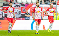 31.03.2019, Red Bull Arena, Salzburg, AUT, 1. FBL, FC Red Bull Salzburg vs FK Austria Wien, Meistergruppe, 23. Spieltag, im Bild v.l.: Munas Dabbur (FC Red Bull Salzburg), Andreas Ulmer (FC Red Bull Salzburg), Hannes Wolf (FC Red Bull Salzburg) // during the tipico Bundesliga Master group, 23th round match between FC Red Bull Salzburg and FK Austria Wien at the Red Bull Arena in Salzburg, Austria on 2019/03/31. EXPA Pictures © 2019, PhotoCredit: EXPA/ JFK