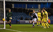 Lee Gregory winches as another attempt for Millwall goes wide during the Johnstone's Paint Trophy semi final first leg match between Millwall and Oxford United at The Den, London, England on 14 January 2016. Photo by Michael Hulf.
