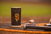 A San Francisco Giants branded batting weight photographed at AT&T Park in San Francisco, Calif., on September 16, 2016. (Stan Olszewski/Special to S.F. Examiner)