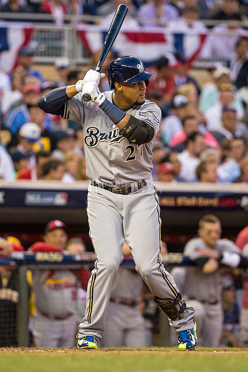 MINNEAPOLIS, MN- JULY 15: National League All-Star Carlos Gomez #27 of the Milwaukee Brewers during the 85th MLB All-Star Game at Target Field on July 15, 2014 in Minneapolis, Minnesota. (Photo by Brace Hemmelgarn) *** Local Caption *** Carlos Gomez