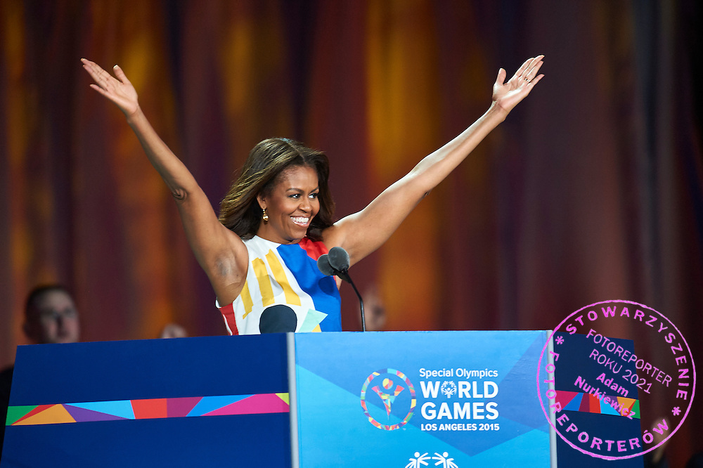 Michelle Obama First Lady USA speaks during opening ceremony of the Special Olympics World Games Los Angeles 2015 at the Los Angeles Coliseum Stadium on July 25, 2015 in Los Angeles, USA.<br /> USA, Los Angeles, July 25, 2015<br /> <br /> Picture also available in RAW (NEF) or TIFF format on special request.<br /> <br /> For editorial use only. Any commercial or promotional use requires permission.<br /> <br /> Adam Nurkiewicz declares that he has no rights to the image of people at the photographs of his authorship.<br /> <br /> Mandatory credit:<br /> Photo by © Adam Nurkiewicz / Mediasport