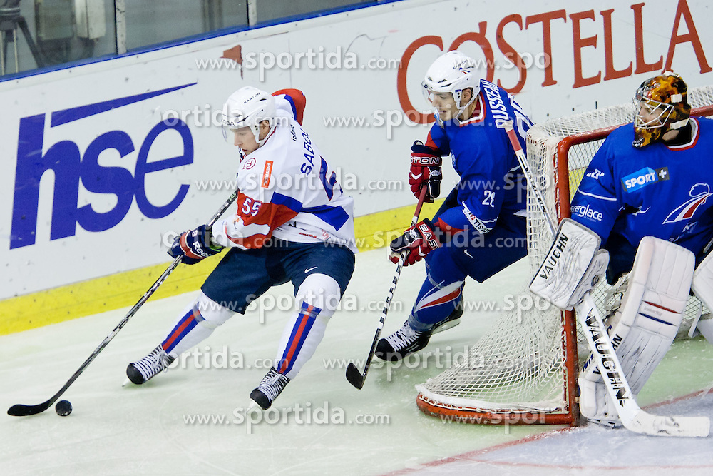 Robert Sabolic of Slovenia and Kevin Dusseau of France during ice-hockey match between Slovenia and France in Slovenia Euro ice hockey challenge, on December 17, 2011 at Hala Tivoli, Ljubljana, Slovenia. (Photo By Matic Klansek Velej / Sportida)