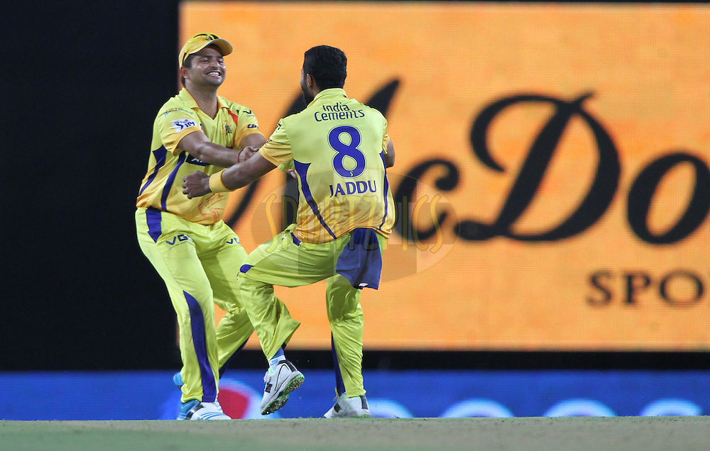 Suresh Raina of The Chennai Superkings and Ravindra Jadeja celebrates the wicket during match 21 of the Pepsi Indian Premier League Season 2014 between the Chennai Superkings and the Kolkata Knight Riders  held at the JSCA International Cricket Stadium, Ranch, India on the 2nd May  2014<br /> <br /> Photo by Deepak Malik / IPL / SPORTZPICS<br /> <br /> <br /> <br /> Image use subject to terms and conditions which can be found here:  http://sportzpics.photoshelter.com/gallery/Pepsi-IPL-Image-terms-and-conditions/G00004VW1IVJ.gB0/C0000TScjhBM6ikg