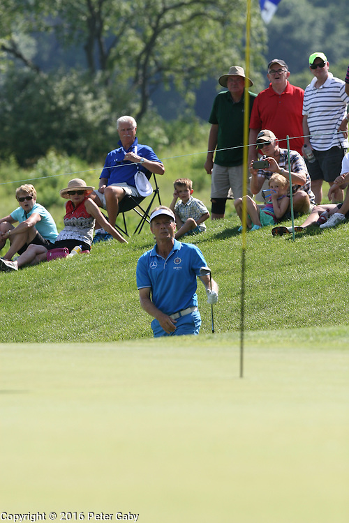 Bernhard Langer's third shot chipping onto the 9th green during the 2016 American Family Championship held at University Ridge Golf Course, Madison,  WI. on June 24, 2016.<br /> <br /> <br /> <br /> <br /> <br />  2016 American Family Championship held at University Ridge Golf Course, Madison,  WI. on June 23, 2016.