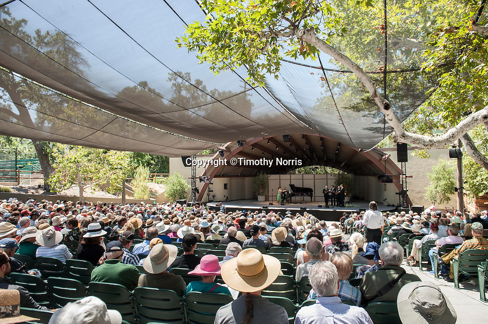 Jennifer Frautschi (violin) and Jeremy Denk (piano) perform Charles Ives' Sontas for Violin and Piano (complete) with Hudson Shad performing traditional hymns at the 68th Ojai Music Festival at Libbey Bowl on June 14, 2014 in Ojai, California.