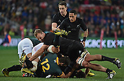 JOHANNESBURG, South Africa, 25 July 2015 : James Broadhurst of the All Blacks cleans out Heinrich Brussow of the Springboks during the Castle Lager Rugby Championship test match between SOUTH AFRICA and NEW ZEALAND at Emirates Airline Park in Johannesburg, South Africa on 25 July 2015. Bokke 20 - 27 All Blacks<br /> <br /> © Anton de Villiers / SASPA