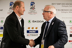 Nik Zupancic, head coach of Slovenia and Dave Henderson, head coach of France during press conference after the 2017 IIHF Men's World Championship group B Ice hockey match between National Teams of France and Slovenia, on May 15, 2017 in AccorHotels Arena in Paris, France. Photo by Vid Ponikvar / Sportida