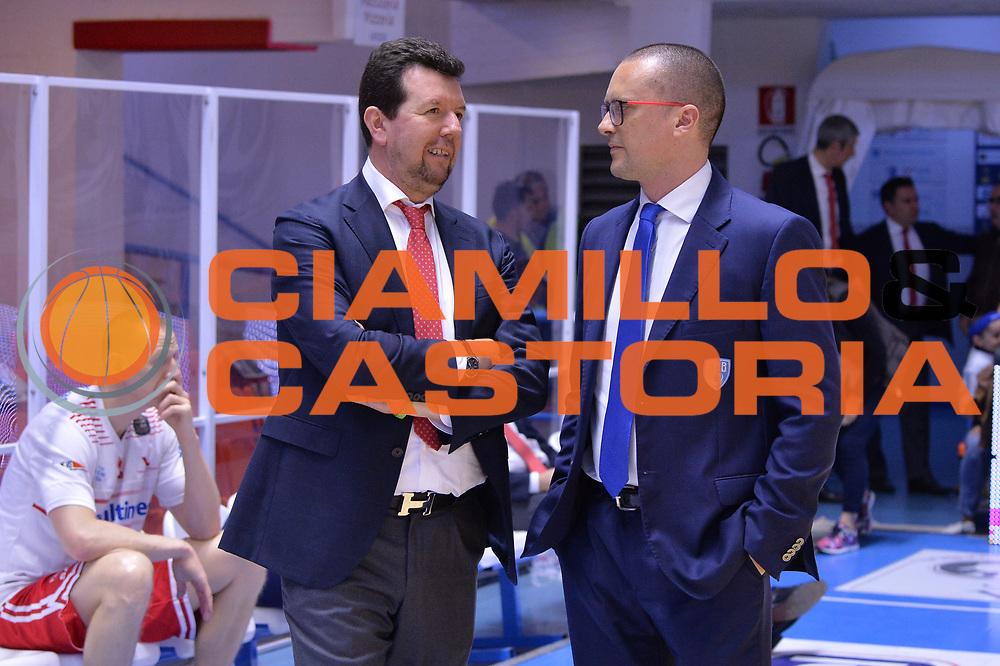 Spiro Leka, Maffezzoli Massimo<br /> Enel Brindisi - Consultinvest Pesaro<br /> BASKET Serie A 2016 <br /> Brindisi 09/04/2017<br /> FOTO CIAMILLO / M.Longo