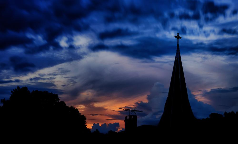 St. Paul Catholic Church, dusk, Ellicott City, Maryland.