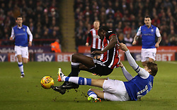 Glenn Loovens of Sheffield Wednesday fouls Clayton Donaldson of Sheffield United and receives a yellow card - Mandatory by-line: Robbie Stephenson/JMP - 12/01/2018 - FOOTBALL - Bramall Lane - Sheffield, England - Sheffield United v Sheffield Wednesday - Sky Bet Championship