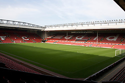 The view of the Anfield pitch from the Anfield Road Lower Stand, centre of Block 128.