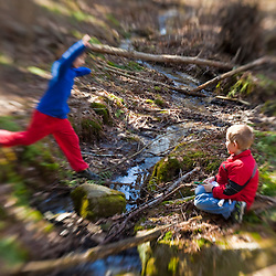 Kids in the woods at the Great Bay National Wildlife Refuge in Newington, New Hampshire.  Spring.