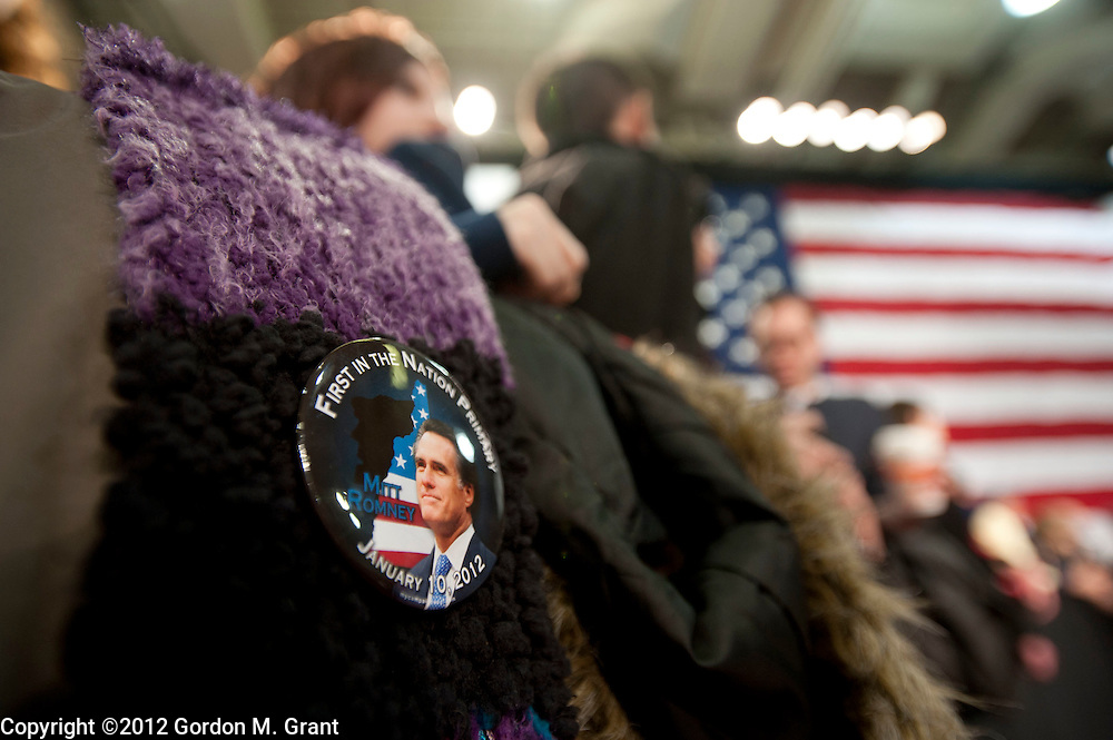 Derry, NH, Unites States - 1/7/12 - A Mitt Romney pin seen during a campaign stop at The Pinkerton Academy in Derry, NH January 7, 2012, as he campaigns for the Republican nomination for President prior to the New Hampshire Primary.    (Photo by Gordon M. Grant)