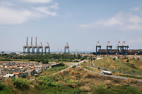 GIOIA TAURO, ITALY - 13 JUNE 2018:  A view of the port of Gioia Tauro, notorious in Italy for its mob links and status as key conduit for bringing in cocaine from Latin America, is seen here in Gioia Tauro, Italy, on June 13th 2018.<br /> <br /> Alessandro Ventura, CFO of Gruppo Ventura, traveled there some 20 times over the last three years, establishing a venture with an Iranian company engaged in expanding the national rail network. In March 2017, he signed a 2 million euro contract (about $2.3 million) to service a section of rail outside Teheran.<br /> He shipped two locomotives used to tamp down the rocks below railroad tracks. They went out on a freighter from Gioia Tauro, a port on the Tyrrhenian Sea that has long been notorious as a Mafia-run conduit for cocaine trafficking.<br /> Last August, Mr. Ventura stood at the Iranian port of Bandar Abbas in 122 degree heat, watching a crane hoist the locomotives onto the docks.<br /> Now, those machines are effectively marooned, the business halted. Gruppo Ventura has lost appetite for adventurous expansion.<br /> <br /> Once the Obama administration struck the nuclear deal with Iran three years ago, Italy saw a chance. Last year, Italy exported more than 1.7 billion euros (nearly $2 billion) worth of goods to Iran. Then, President Trump withdrew the United States from the Iran deal and vowed to reinstate sanctions, dealing a blow to companies across Europe — especially those from Italy, Germany and France.