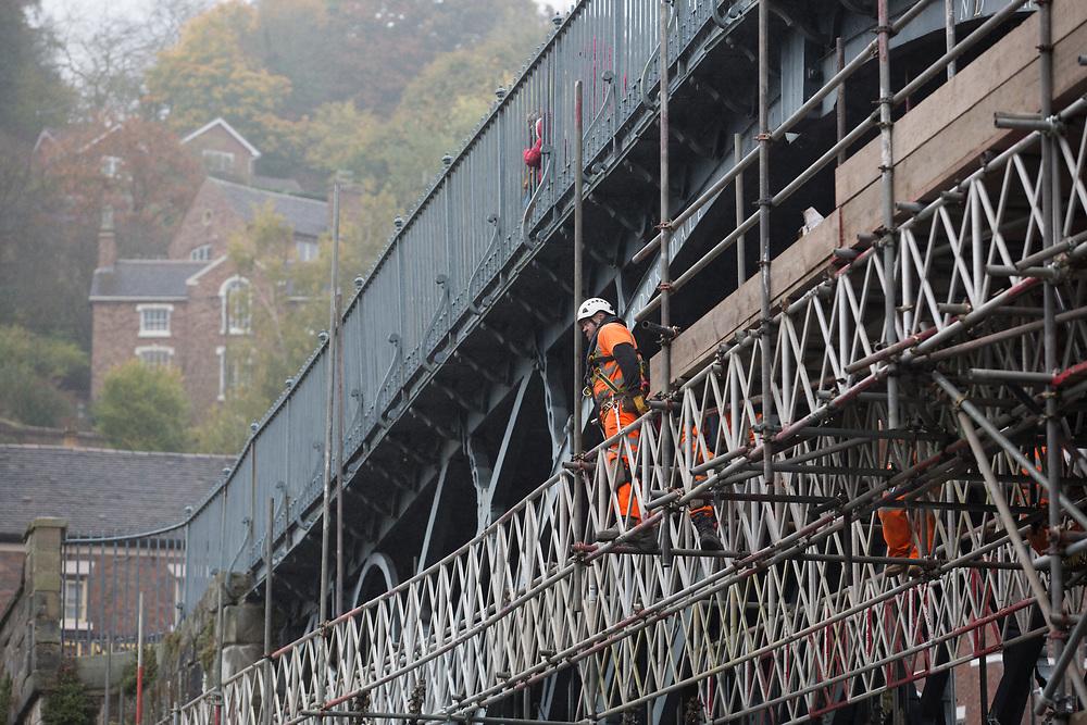 Oct 19th 2017 - Ironbridge - renovation of the fameous ' Iron Bridge ' by English Heritage