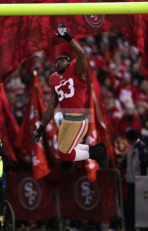 San Francisco 49ers inside linebacker NaVorro Bowman (53) is introduced during a NFL Divisional playoff game against the Green Bay Packers at Candlestick Park in San Francisco, Calif., on Jan. 12, 2013. The 49ers defeated the Packers 45-31. (AP Photo/Jed Jacobsohn)