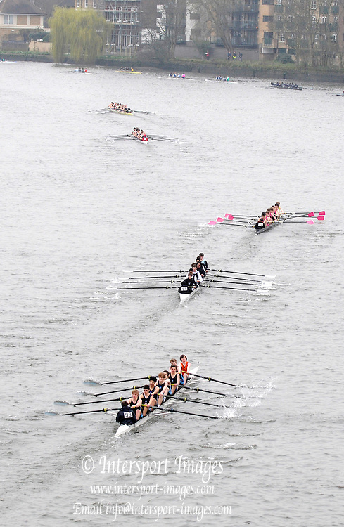 Chiswick. London.  General Views GV's Crews racing and marshalling  for the 2011 Schools Head of the River Race, Mortlake to Putney, over the  Championship Course.Taken from Chiswick Bridge.  Thursday  17/03/2011 [Mandatory Credit, Peter Spurrier/Intersport-images]