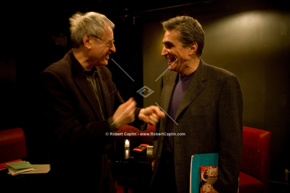 Current US poet laureate Charles Simic, left, and former laureate, Robert Pinsky, right, before rehearsing some poetry prior to a collaboration with jazz musicians at the Jazz Standard in New York, U.S. 1/8/08.