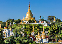 Sagaing  hills and temples skyline near Mandalay Myanmar (Burma)