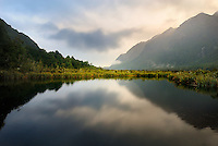 Richard Furhoff 100101_NewZealand_DSC4633_1A.tif .Mirror Lake, Fiordlands National Park, New Zealand..