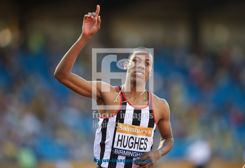 Zharnel Hughes celebrates winning the 200m Final during the Sainsbury's British Championships at Alexander Stadium, Birmingham<br /> Picture by Alan Stanford/Focus Images Ltd +44 7915 056117<br /> 04/07/2015